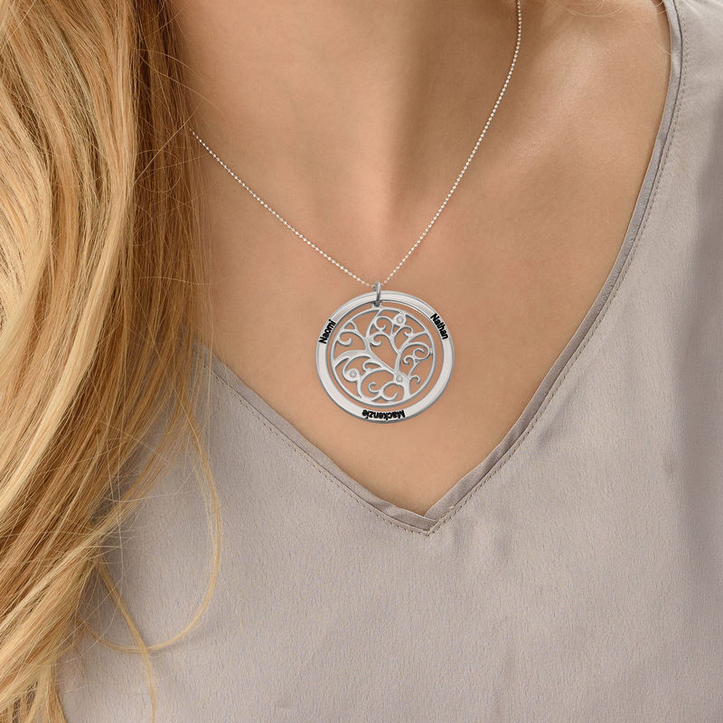 Family Tree Birthstone Necklace Sterling Silver with Diamonds - 2