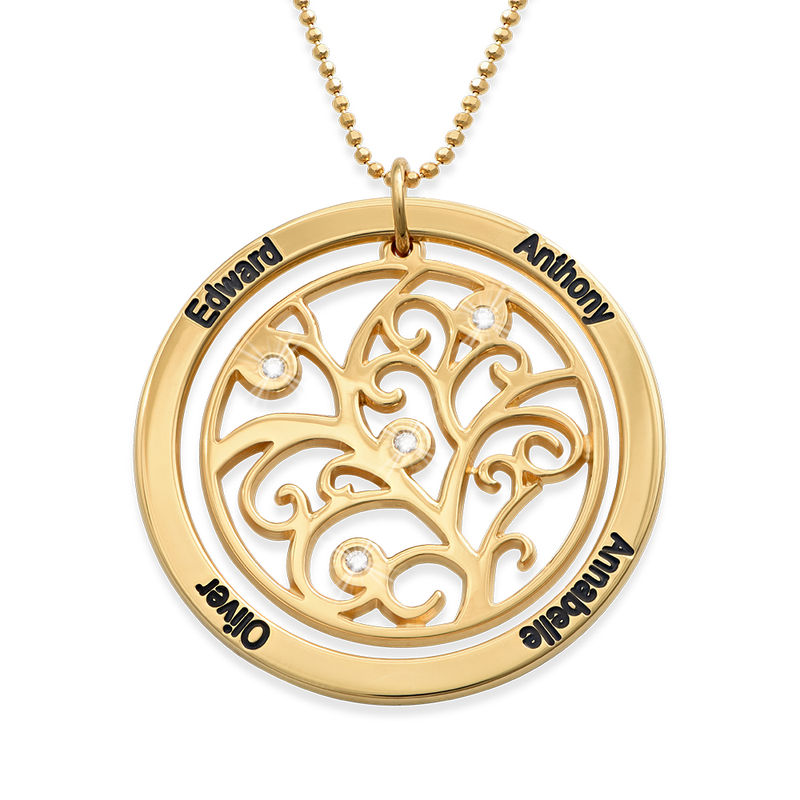 Gold Vermeil Family Tree Necklace With Diamonds