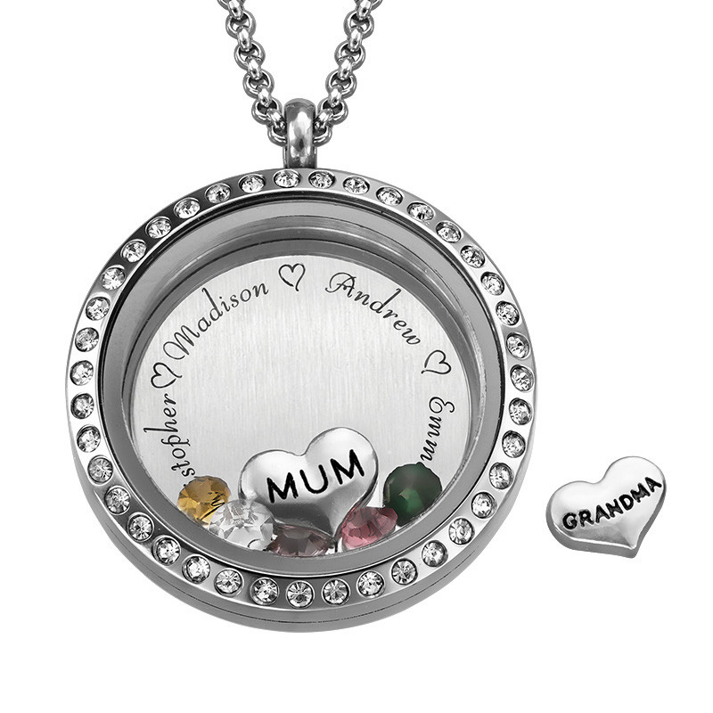 """Engraved Floating Charms Locket with Birthstones- """"For Mum or Grandma"""""""