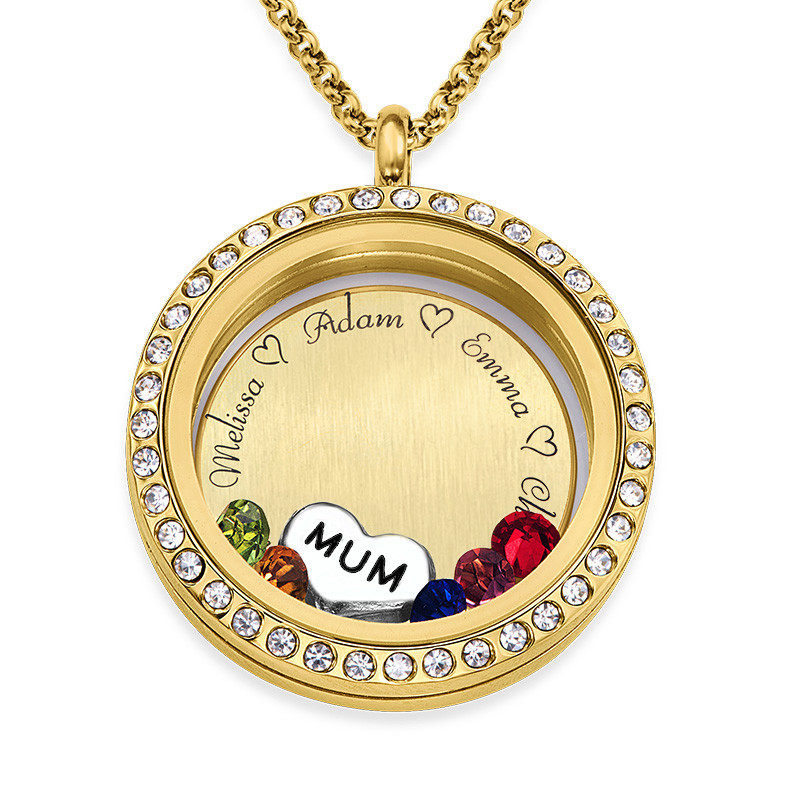 """Engraved Floating Charms Locket in Gold Plating - """"For Mum or Grandma"""""""