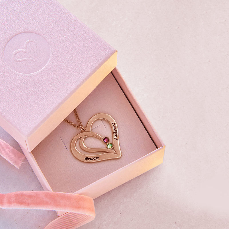 Engraved Birthstone Necklace - Rose Gold Plated - 5