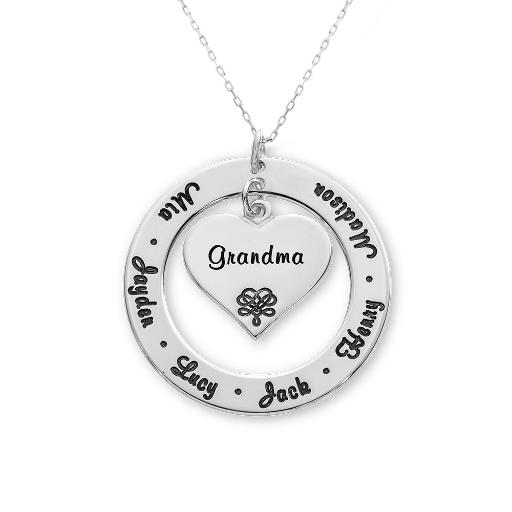 10ct White Gold Grandmother / Mother Necklace - 1
