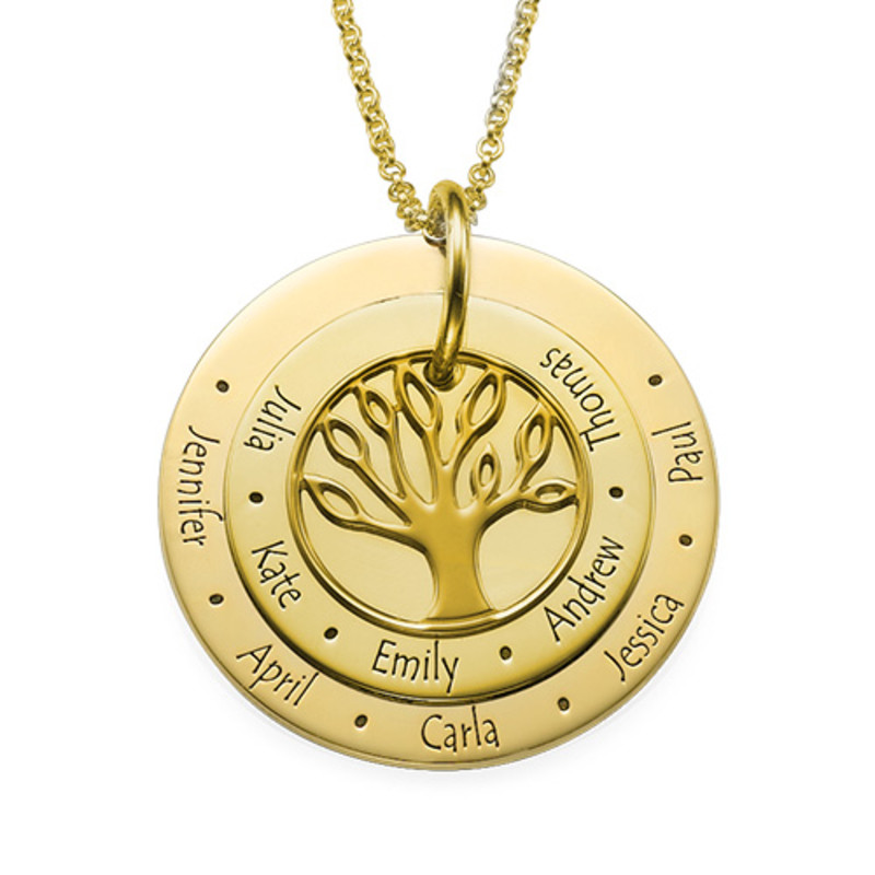 Family Tree Necklace for Mums - 18ct Gold Plated