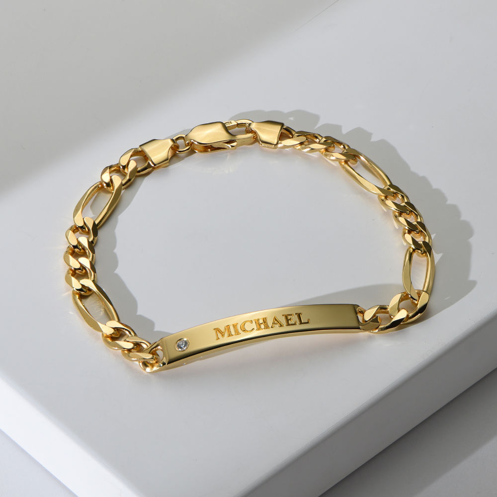 ID Bracelet for Men in Gold Plated with Diamond - 1