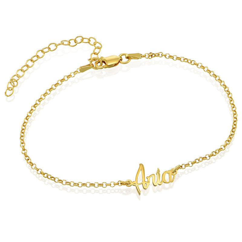 Ankle Bracelet with name in Gold Plating