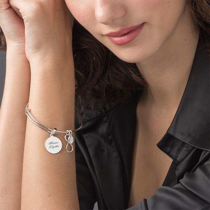 Infinity Charm Bangle Bracelet - 1