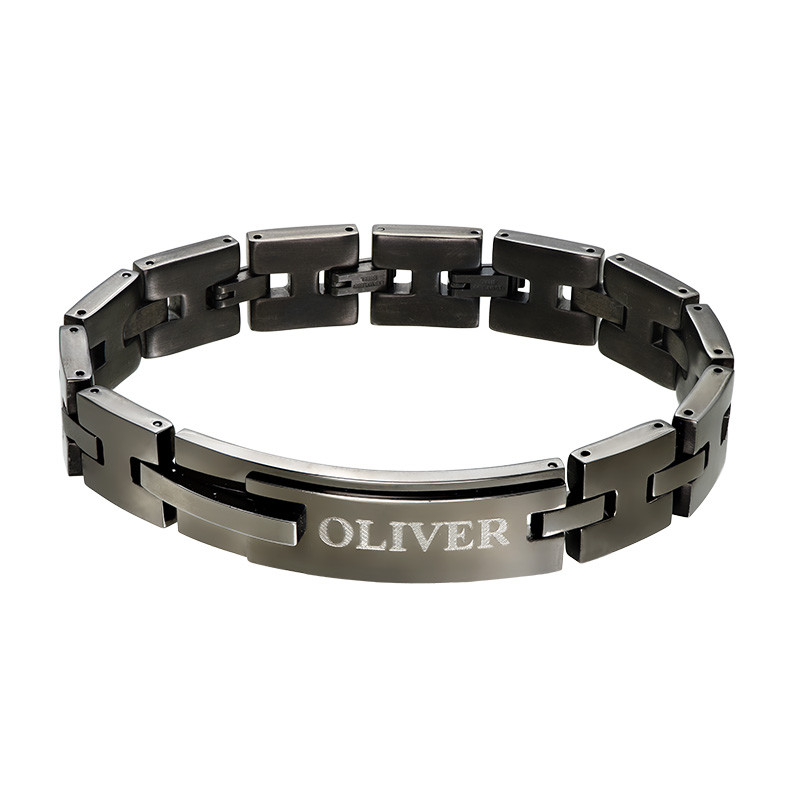 Black Stainless Steel Man Bracelet with Engraving