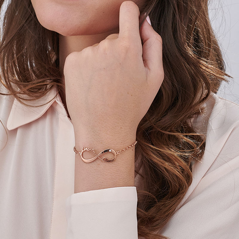 Personalised Infinity Bracelet in Rose Gold Plating with Diamond - 2