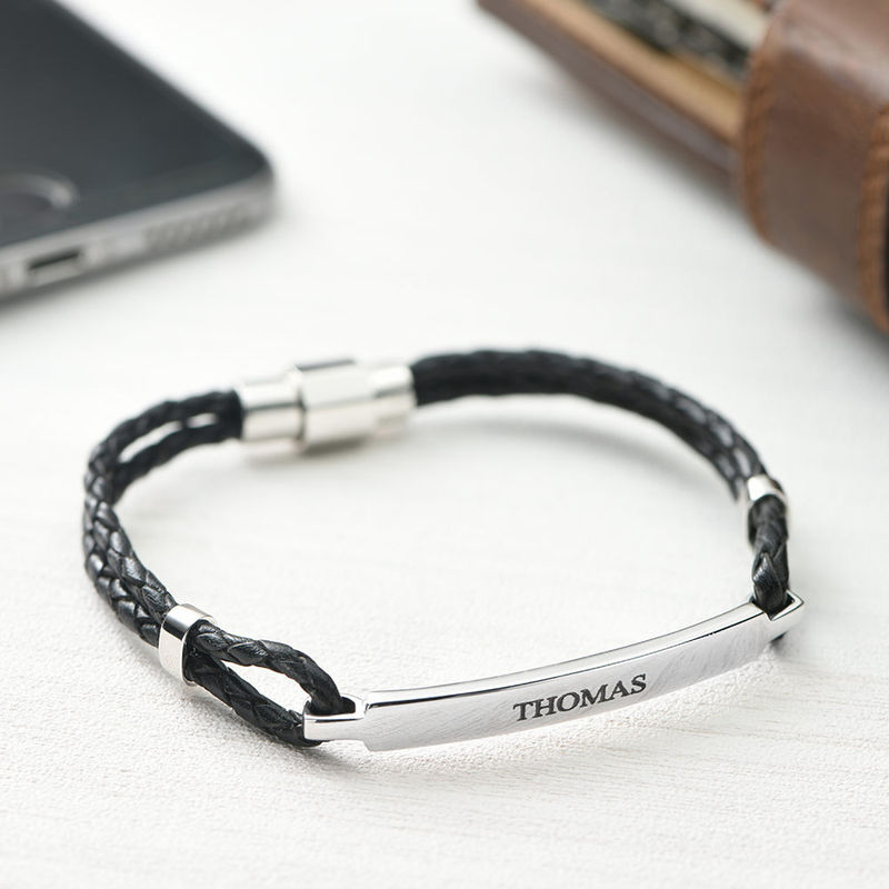 ID Bracelet for Men in Stainless Steel and Black Leather - 1