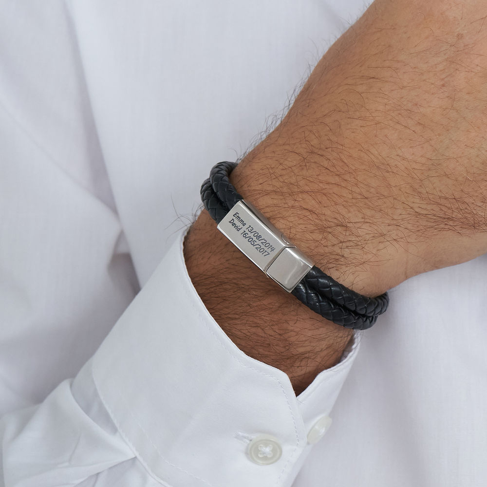 Engraved Bracelet for Men in Stainless Steel and black leather - 2