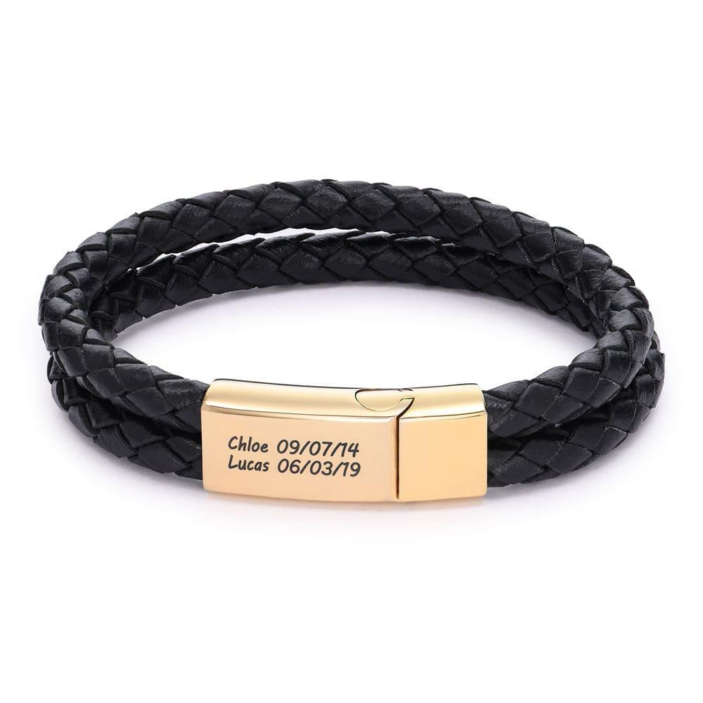 Engraved Bracelet for Men in Black Leather and Gold Plating