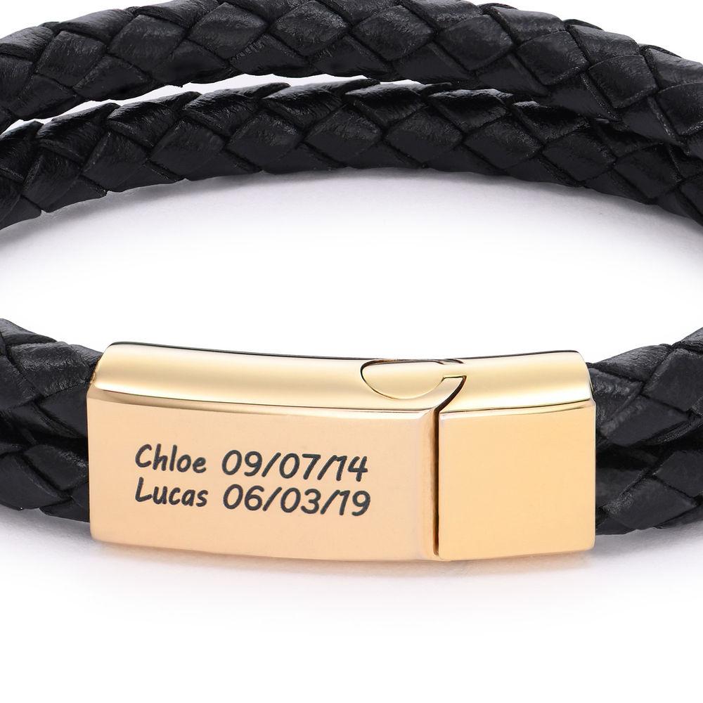 Engraved Bracelet for Men in Black Leather and Gold Plating - 1