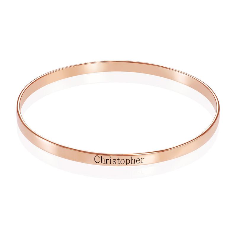 18ct Rose Gold Plated Engraved Bangle Bracelet