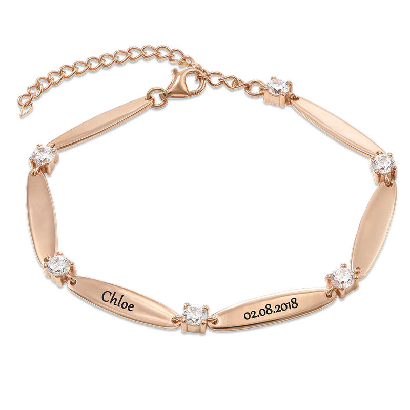 Engraved Mother Bracelet with Cubic Zirconia in Rose Gold Plating - 1