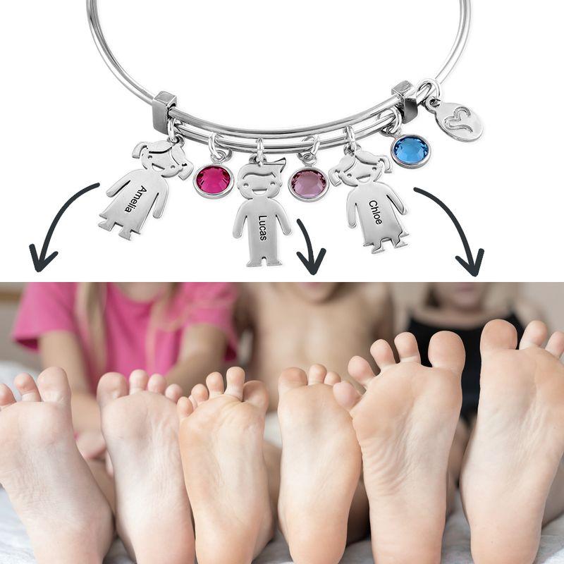 Bangle Bracelet with Kids Charms - 2