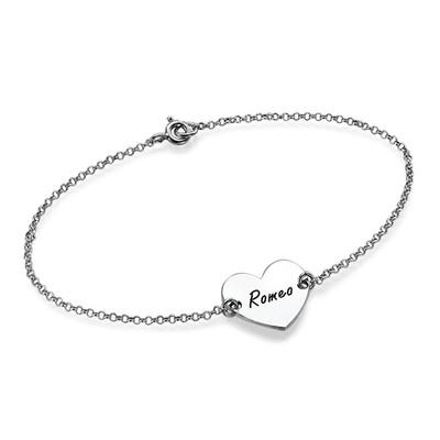 Sterling Silver Engraved Heart Couples Bracelet