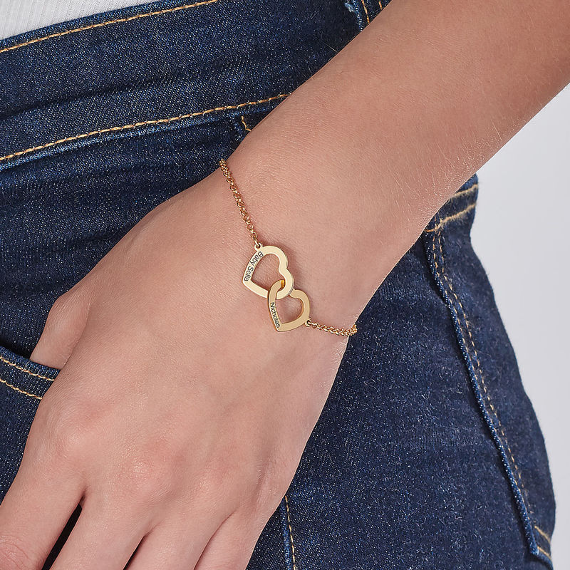 Interlocking Adjustable Hearts Bracelet with 18ct Gold Vermeil - 2