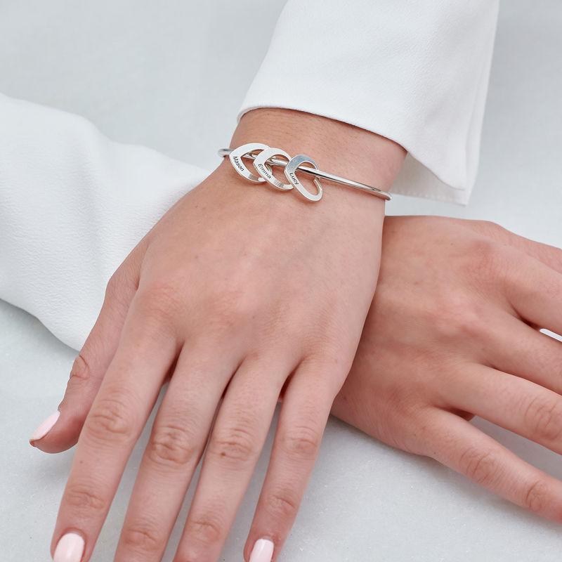 Bangle Bracelet with Heart Shape Pendants in Silver - 4