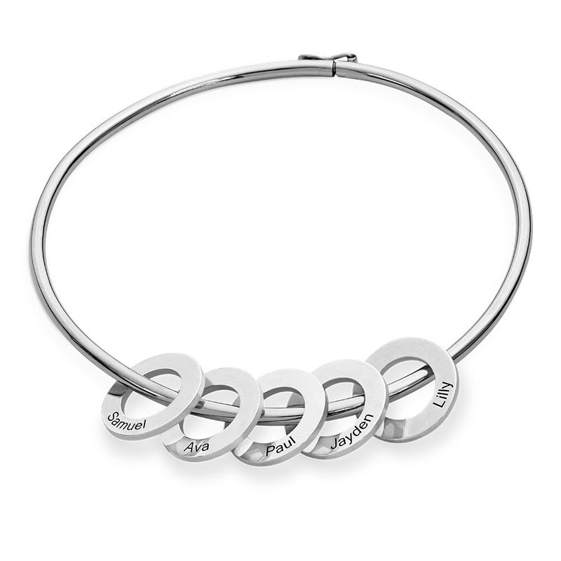 Sterling Silver 925 Bangle Bracelet with Round Shape Pendants in silver