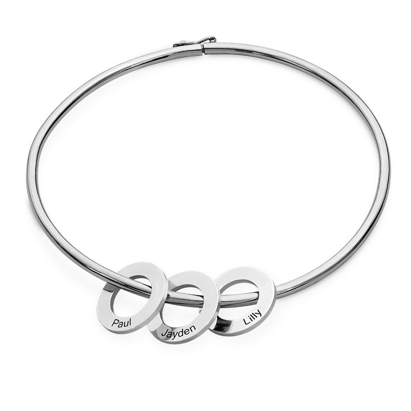 Sterling Silver 925 Bangle Bracelet with Round Shape Pendants in silver - 1