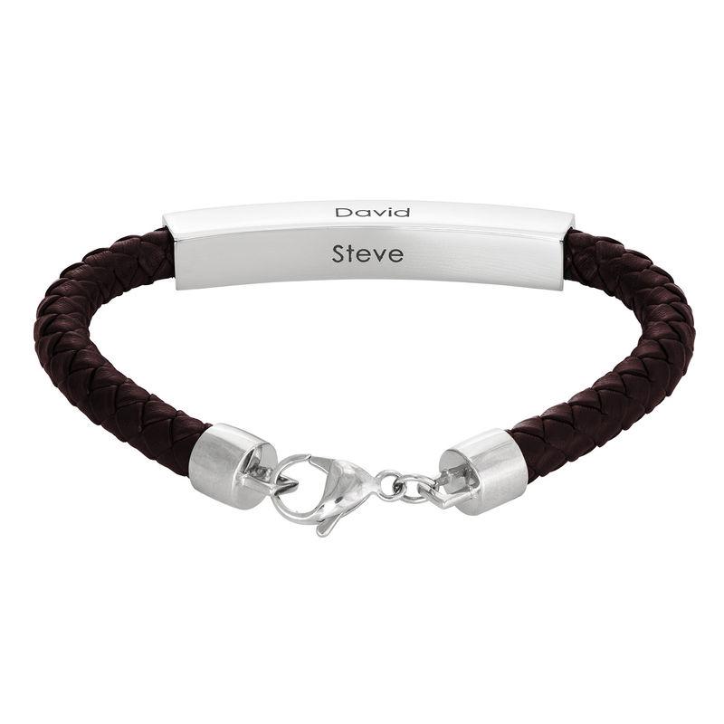 Engraved Leather Bar Bracelet for Men- in Brown - 1