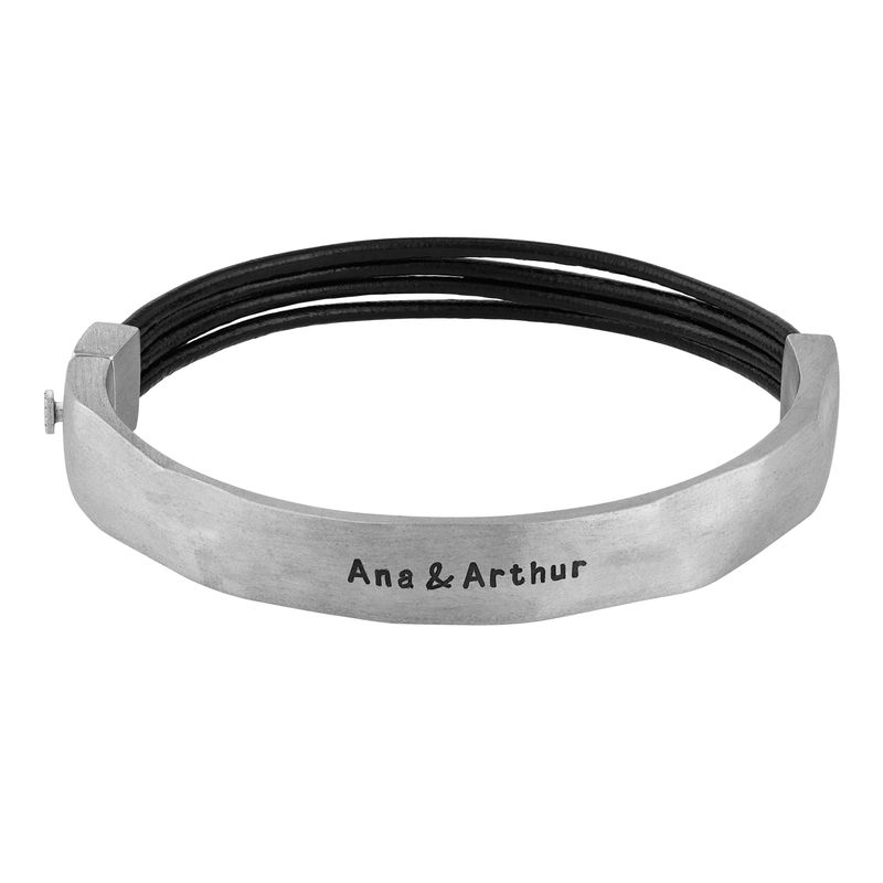 Half Cuff Bracelet in Silver with Black Leather Chain