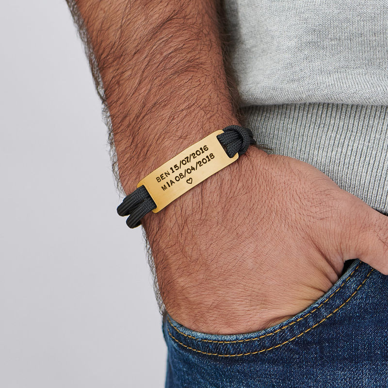 Engraved Bar Cord Bracelet For Men in 18ct Gold Plating - 2