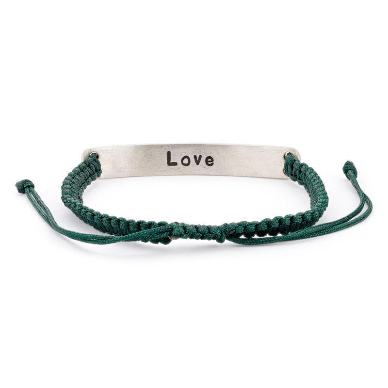 Adjustable Engraved Bar Rope Bracelet in Silver - 1