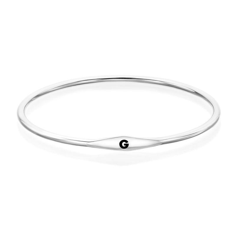 Initial Bangle Bracelet in Sterling Silver