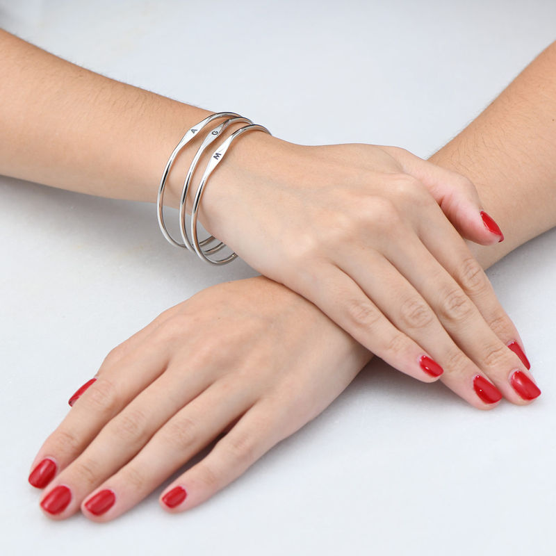 Initial Bangle Bracelet in Sterling Silver - 3