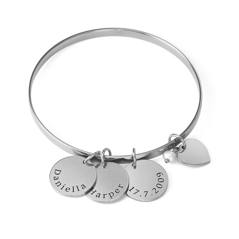 Bangle Bracelet with Personalised Pendants in Sterling Silver
