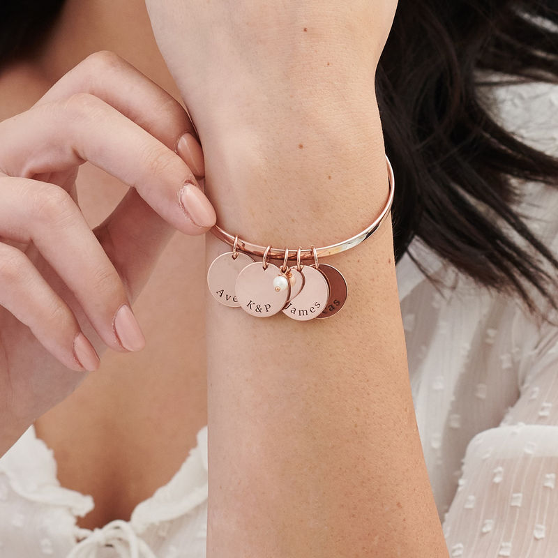 Bangle Bracelet with Personalised Pendants in Rose Gold Plating - 2