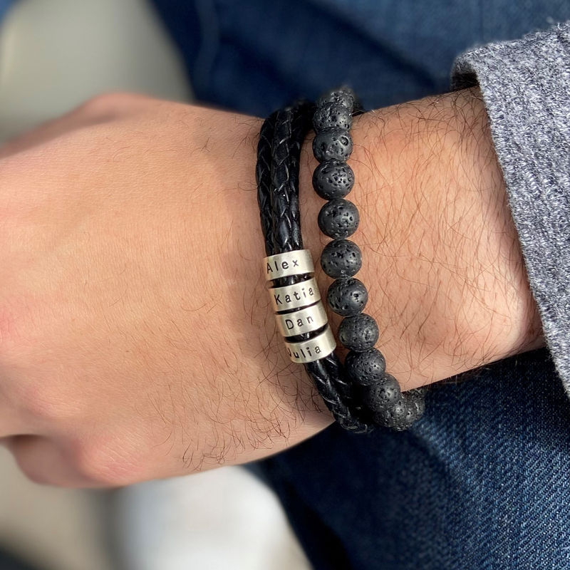 Men Braided Leather Bracelet with Small Custom Beads in Silver - 8