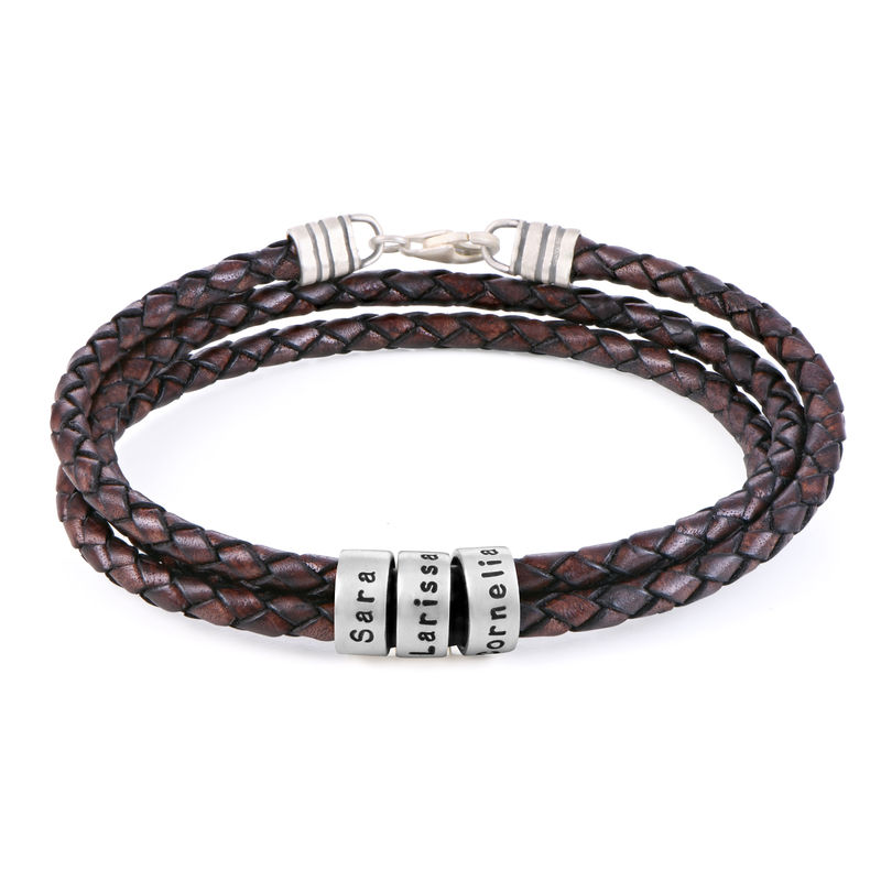 Men Braided Brown Leather Bracelet with Small Custom Beads in Silver - 1