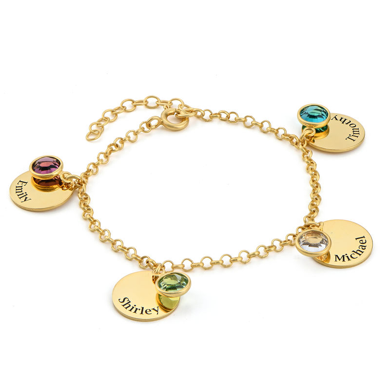 Mum Personalised Charms Bracelet with Birthstone Crystals in Gold Plating - 1
