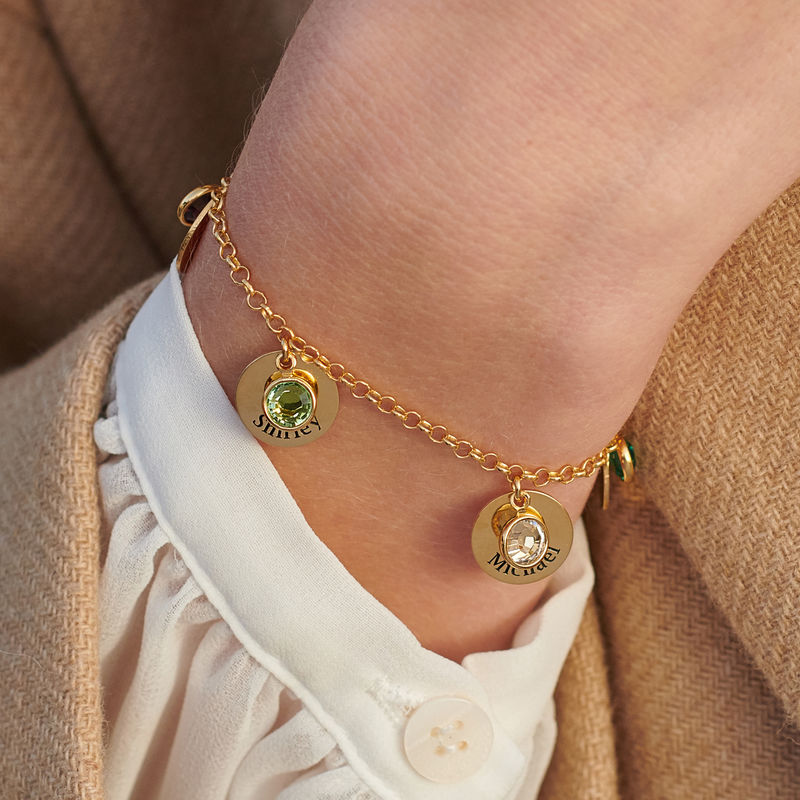 Mum Personalised Charms Bracelet with Birthstone Crystals in Gold Plating - 4