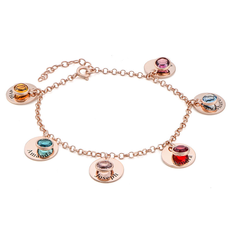 Mum Personalised Charms Bracelet with Birthstone Crystals in Rose Gold Plating