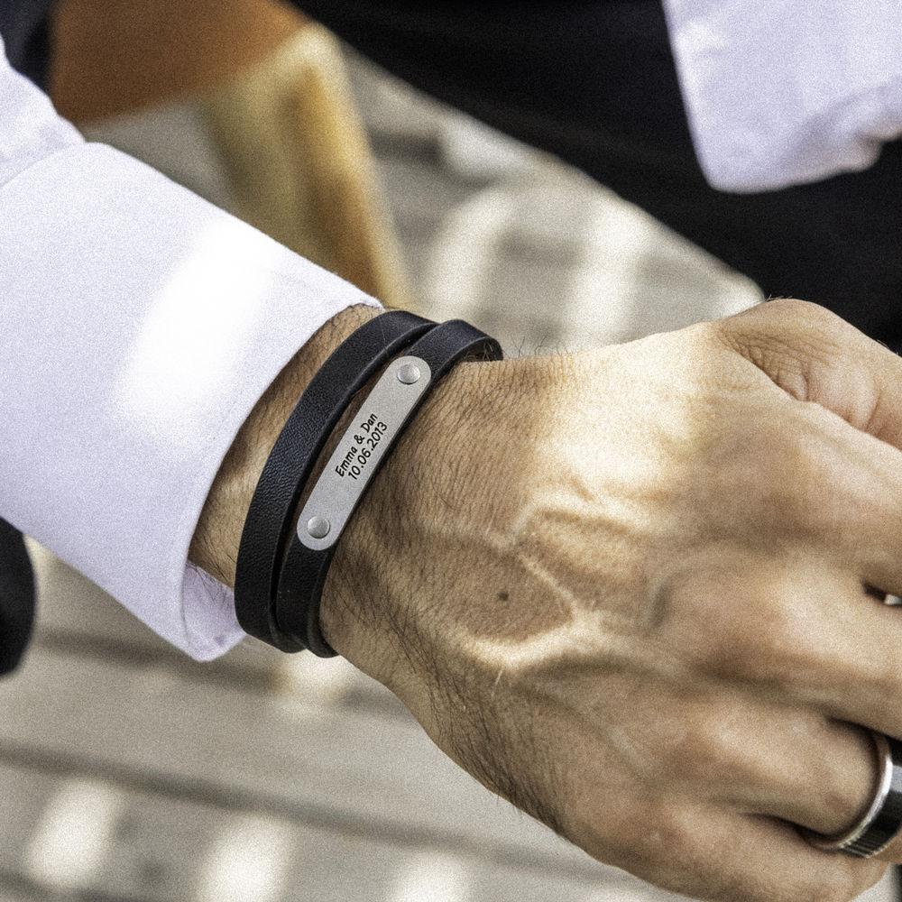 Black Leather Bracelet with Engraved Bar - 1