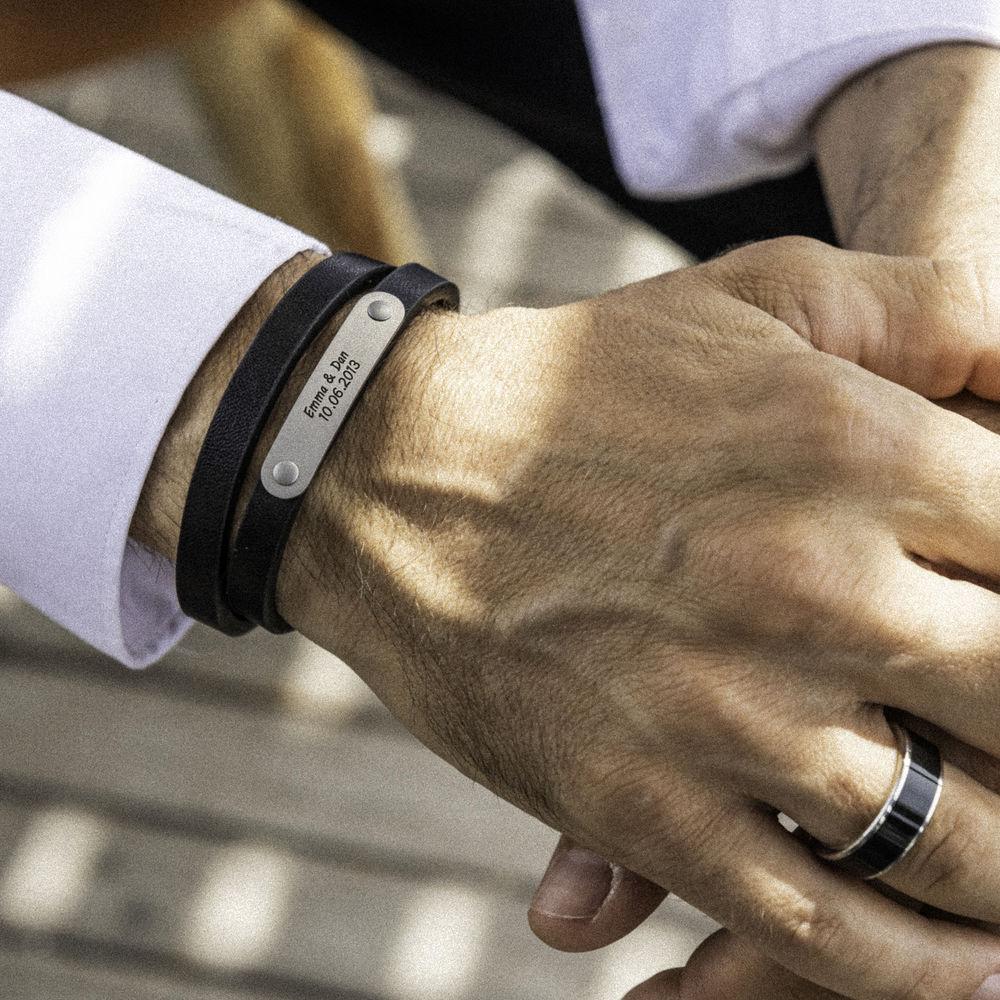 Black Leather Bracelet with Engraved Bar - 2