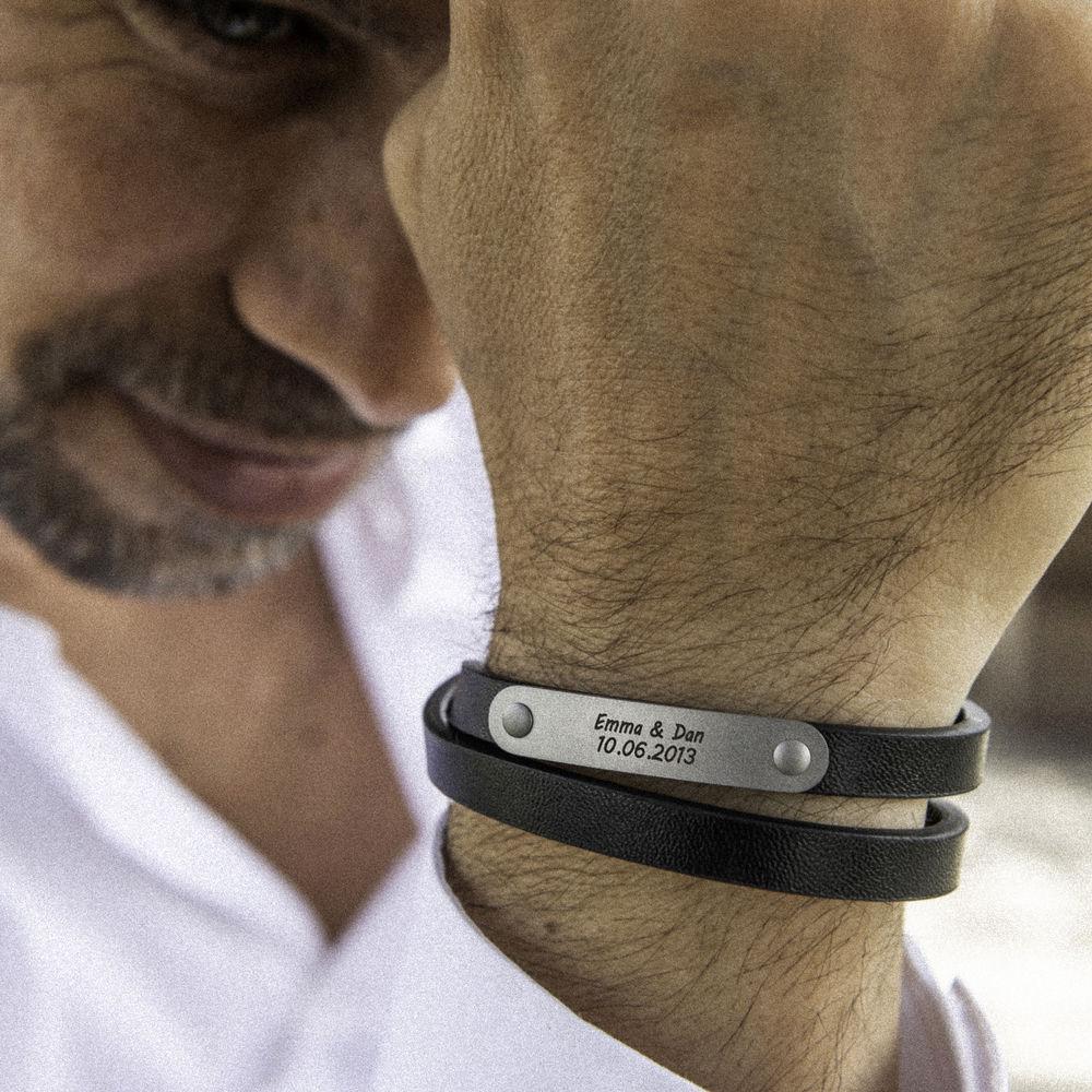 Black Leather Bracelet with Engraved Bar - 3
