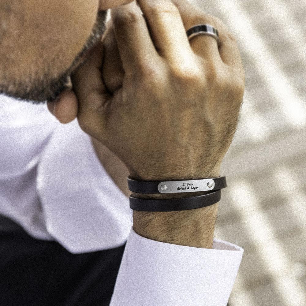 Black Leather Bracelet with Engraved Bar - 5