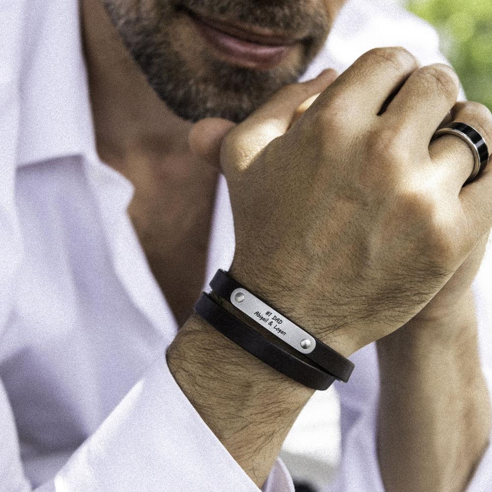 Black Leather Bracelet with Engraved Bar - 6
