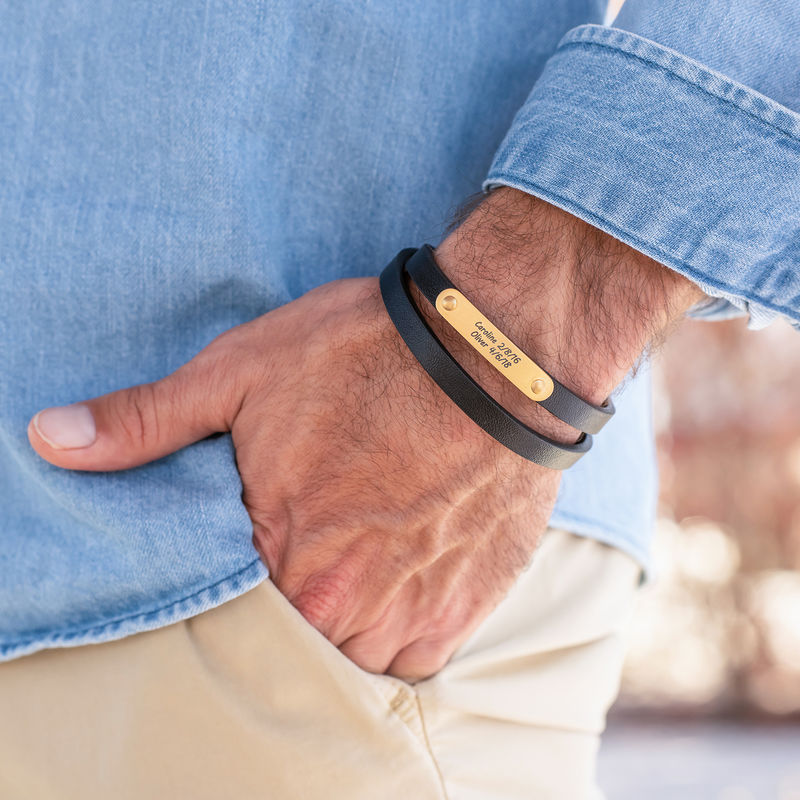 Black Leather Bracelet with Engraved Bar in 18ct Gold Plating - 1