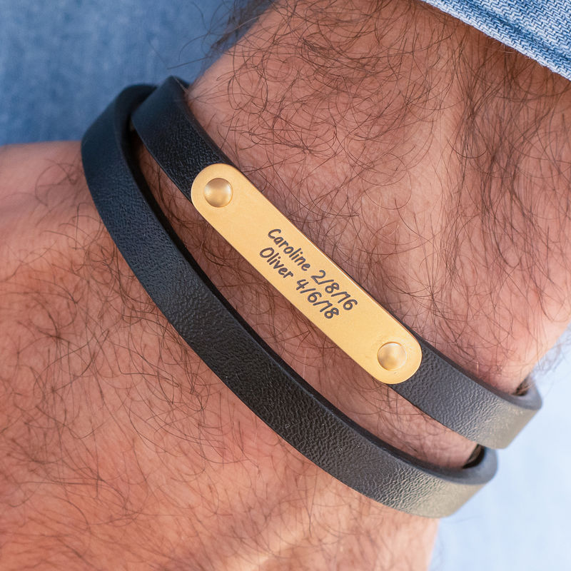 Black Leather Bracelet with Engraved Bar in 18ct Gold Plating - 2