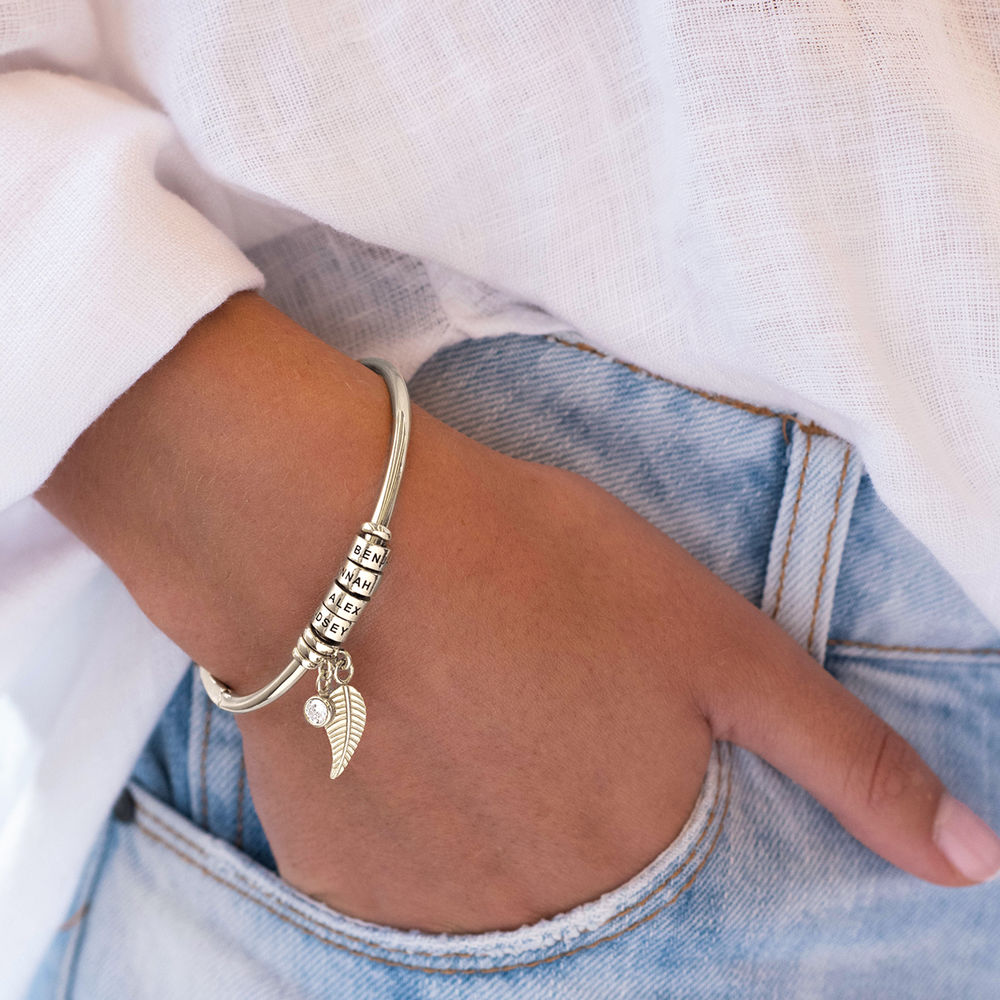 Linda Open Bangle Bracelet with Beads in Silver - 4
