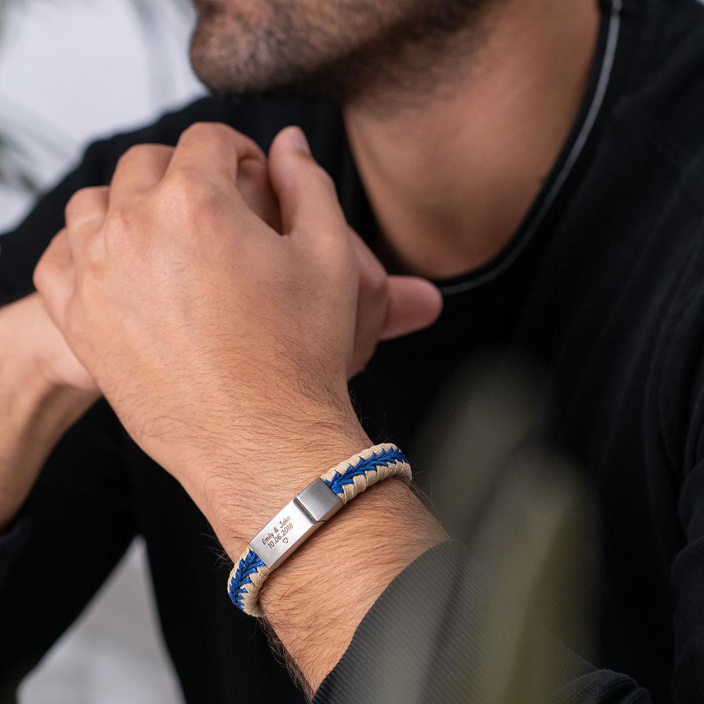 Men Flat Beige Leather Braided Bracelet - 2