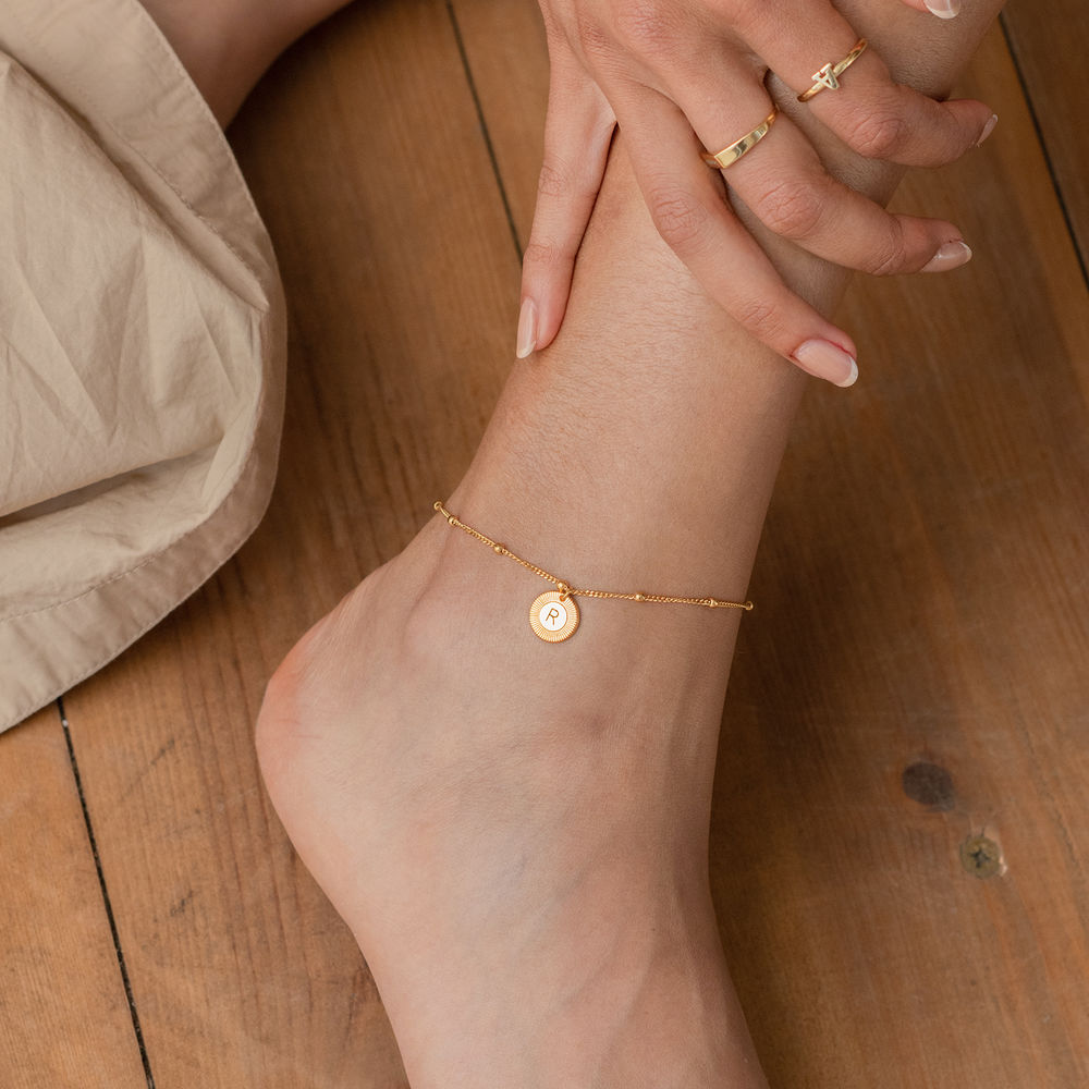 Mini Rayos Initial Bracelet / Anklet in 18ct Gold Plating - 2
