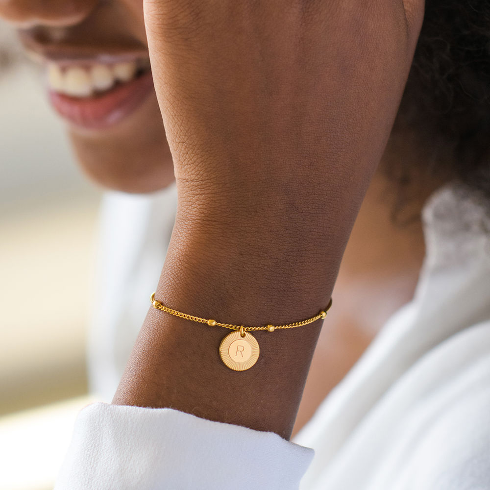 Mini Rayos Initial Bracelet / Anklet in 18ct Gold Plating - 4