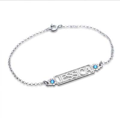 Cut Out Name Bracelet with Birthstones - 1