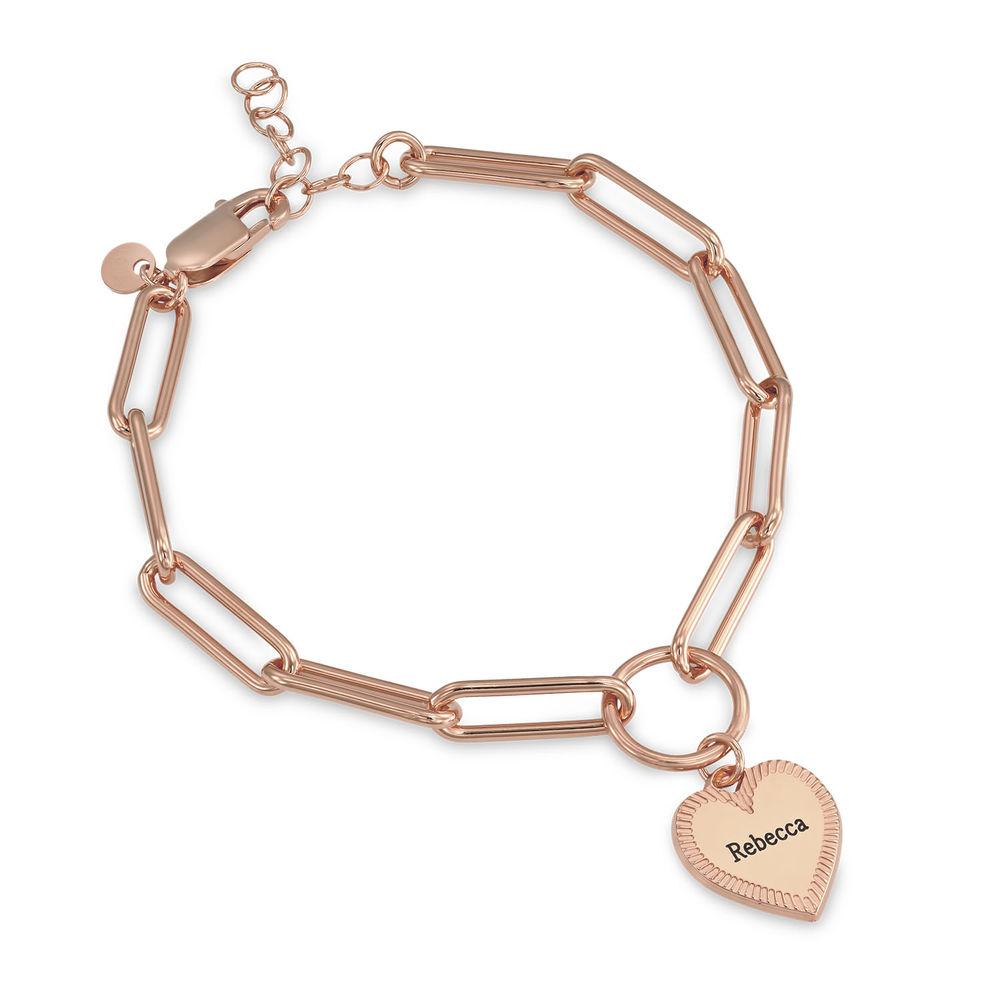 Heart Pendant Link Bracelet in Rose Gold Plating
